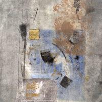 Skizze danse 6 - Monotype, chine collé, feuille d'or, 60x40cm