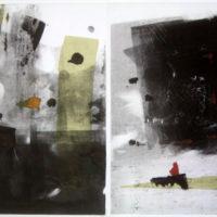 Jardin sous la pluie - Monotype, chine collé, diptyque, 30x40cm