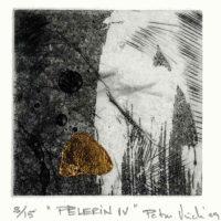 Pèlerin IV- Eau forte, aquatinte, pointe sèche, feuille d'or, 25x19cm