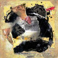 Hera - Collage, gravures originales, résine sur bois, 30x30cm