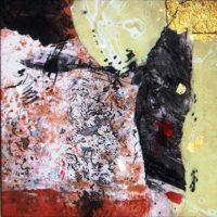 Firmamentum - Collage, gravures originales, pastel, feuille d'or, résine sur bois, 30x30cm
