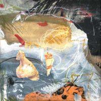 Nestis - Collage, gravures, pastel, résine sur bois, 15x15cm
