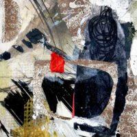 Embers - Collage, gravures originales, pastel, résine sur bois, 30x30cm