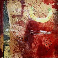Tauro - Collage, gravures originales, pastel, résine sur bois, 15x15cm