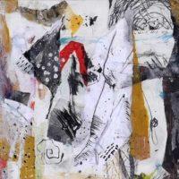 Suenos IV - Collage, gravures originales, graphite, résine sur bois, 30x30cm
