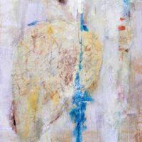 À découvert - Acrylique sur toile, collage,75x60cm