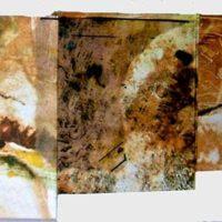 Dialogos - Livre d'artiste, collage, monotype, eau forte, pliage concertina, reliure entoilée, 15x100cm
