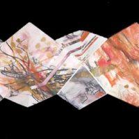 Carnet de voyage - Artist's book, collage, monotype, folded paper, bookbinding, 10x10cm