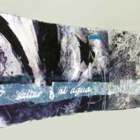 Senderos azules - Artist's book, monotype, transfer, Kozo, 15x90cm
