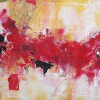 Passionnément - Acrylique sur toile, collage, 90x150cm