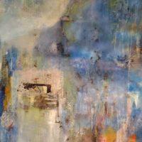 Envahi par le bleu - Acrylique et huile, pastel, graphite, collage sur toile, 90x75cm
