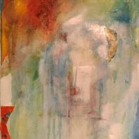 Épiphanie - Acrylique et huile sur toile, collage, 90x60cm